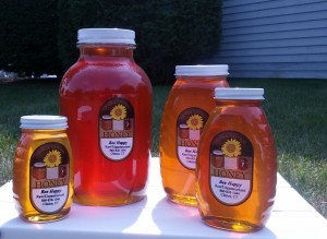 Honey jars with 5 pounder-crop